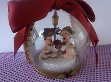 MICKEY & MINNIE VICTORIAN GLASS BALL DISNEY CHRISTMAS  ORNAMENT
