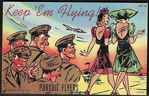 """WW2 """"Keep 'Em Flying"""" Pursuit Flyers Girlie Postcard"""
