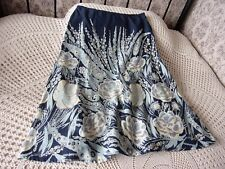 Floral cotton skirt by DASH Size 14 Blue with yellowish cream and multi