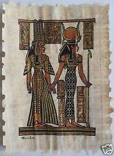 Papyrus Painting From Egyptian Art Caravan of Hathor & Queen Nefertari