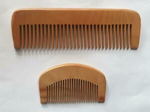 SET of 2 Wood Wooden Combs for Beard Moustache And Hair 100% Natural Anti Static