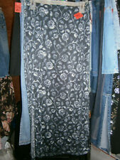Studio Y Size Small Black Gray Floral  A-Line Lined Dress Career Skirt Stretch