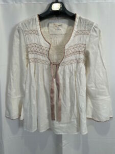 Odd Molly Smocked Long Sleeve Blouse White Embroidered Ribbon Tie Anthro M 2