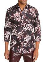INC Mens Shirt Black Maroon Size Medium M Paisley Medallion Button Down $65 065