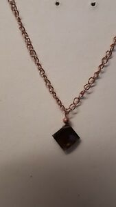 rose gold plated smokey quartz necklace&pendent,gemstone,square,brown.