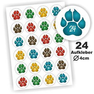 24 Aufkleber 1-24 Advent Adventskalender Zahlen Weihnachten Pfote Katzenpfote