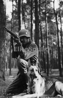WW2 Photo Picture German Soldier firing k98 Rifle with Shepherd Dog 271