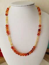 """Beautiful Natural Carnelian And Yellow Opal 18"""" Necklace With Gold Filled Clasp"""