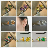 6MM Round Rainbow Zircon 3 Claw Ear Stud for Women Multicolor Crystal Earrings
