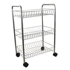 3 Tier Metal Kitchen Storage Trolley Vegetable Fruit Cart Drawer Rack Wheels New