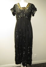 Edwardian 1910 Black French Net Dress Heavily Embroidered With Black Sequins