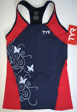 TYR Womens Large Navy Blue Red White Fitted Tank Triathlon Exercise USA Made New