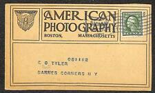 SCOTT #405 STAMP BOSTON MASSACHUSETTS AMERICAN PHOTOGRAPHY AD POSTCARD (c. 1913)