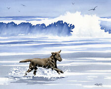 CHOCOLATE LAB AT THE BEACH Painting 8 x 10 ART Print Signed by Artist DJR