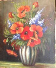 Tableau Ancien Huile Art Déco  Bouquet de Coquelicots dans un vase toile signée