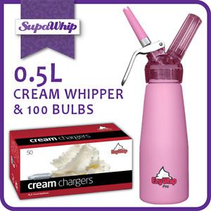 100 CREAM CHARGERS BULBS & EZYWHIP PRO WHIPPER 0.5L PINK DISPENSER GUN N2O