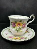 Rosina China Queen's Special Flowers August Pansy Tea Cup & Saucer Set VT3171