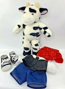 "BABW Build A Bear Workshop 19"" Cow Black White Holstein Plush + Complete Outfit"