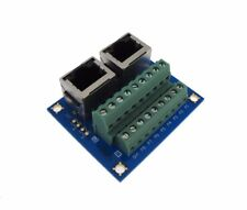 Dual RJ45 Ethernet Connector Breakout Board w/ LED Screw terminals 180 Vertical