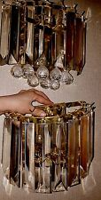 Vtg Pair Venini Styled LUCITE Crystal Wall Sconces Prisms Fixture Lamp Light