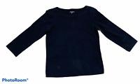 Woman's EILEEN FISHER Black 3/4 Sleeve Blouse Top Shirt 100% Cotton Petite PP