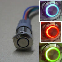Blue/Green/Red 16mm 12V angel LED car metal push button switch with socket Plug