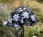 helmet cover - black w white flowers - small or medium