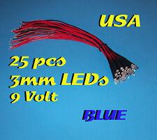 25 PRE WIRED BLUE LED LIGHTS 3mm 9 VOLT 9V WIRE LEDs PREWIRED