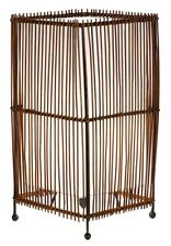Modern Rustic Ethnic Rattan Squared Table Side Lamp Neutral Shade NEW Home Gift