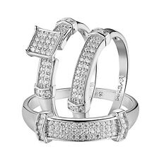 His & Her Wedding Trio Ring Set Sterling Silver 925 Simulated Diamonds