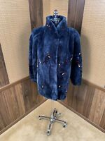 BEAUTIFUL DYED BLUE & MULTI-COLOR SHEARED BEAVER FUR COAT JACKET LARGE 8 - 10