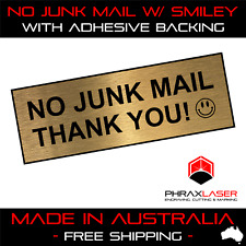 NO JUNK MAIL THANK YOU - GOLD SIGN - LABEL - PLAQUE w/ Adhesive 100mm x 35mm