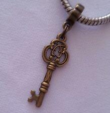 Antique Key Dangle Bead Bronze Tone For European Bracelets Or Clip On Charm