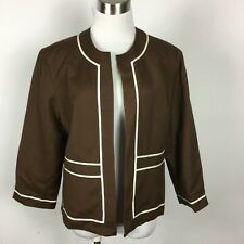 Coldwater Creek 14 Blazer Jacket New NWT Brown White Trim  3/4 Sleeve Lined
