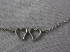 B A BALLOU VINTAGE STERLING SILVER DOUBLE OPEN HEART PENDANT CHAIN NECKLACE