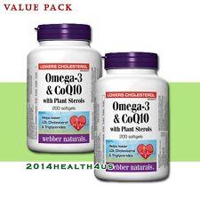 2 x Webber Naturals Omega-3 & CoQ10 with Plant Sterols, 200 softgels
