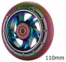 Team dogz arc en ciel neo chrome scooter 110mm roues en alliage mixte simili cuir violet vert