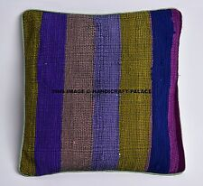 Striped Designs Chindi Cushion Cover Indian Cotton Sofa Decor Green Pillow Cover