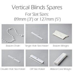 Vertical Blind Spares 89 or 127mm Bottom Weight, Slat Hanger, Chain Links