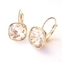 Champagne Gold Plated Drop Earrings w/ 12mm Cushion Cut Swarovski Crystal Prom