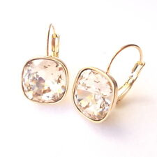 12mm Cushion Cut Swarovski Crystal Prom Champagne Gold Plated Drop Earrings w/