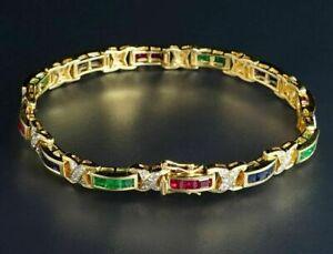 "Vintage 14K Yellow Gold Over Square Diamond Emerald Sapphire Ruby 7.25"" Bracelet"