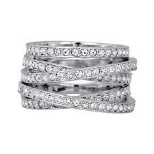 Swarovski Rhodium-Plated Spiral Ring 1156304