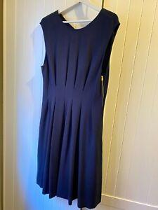ISSA London Navy Pleated Dress Size UK 16