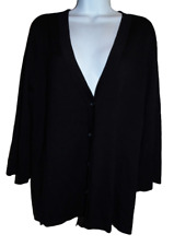 Excellent 3/4 Sleeve Black Coldwater Creek Silk Blend Cardigan - 3X