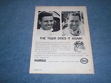 "1966 Enco Gasoline Vintage Ad ""The Tiger Does it Again"" Jim Clark Jack Brabham"