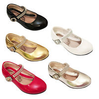 GIRLS KIDS WEDDING BRIDESMAID DIAMANTE LOW HEEL PARTY SANDALS SHOES  7-3