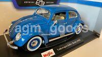 Maisto 1:18 Scale - Volkswagen Kafer Beetle 1955 - Blue - Diecast Model Car