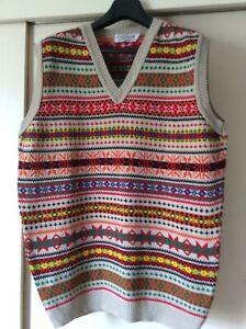 Mans Fair Isle Tank Top London Knitwear Gallery Vintage Classic XL Exc