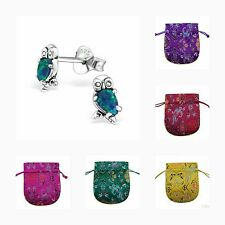 Childrens Girls 925 Sterling Silver Small Opal Owl Stud Earrings - Pouch